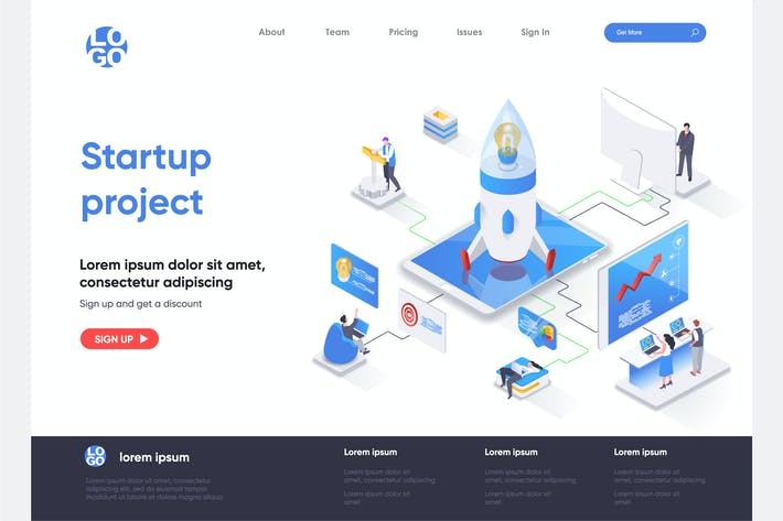 Startup Project Isometric Landing Page Template
