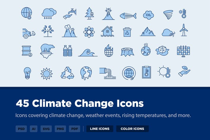 45 Climate Change Icons