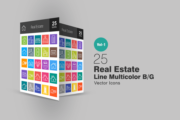 Thumbnail for 25 Real Estate Line Multicolor Icons