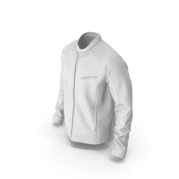 Мужская кожаная куртка Белый