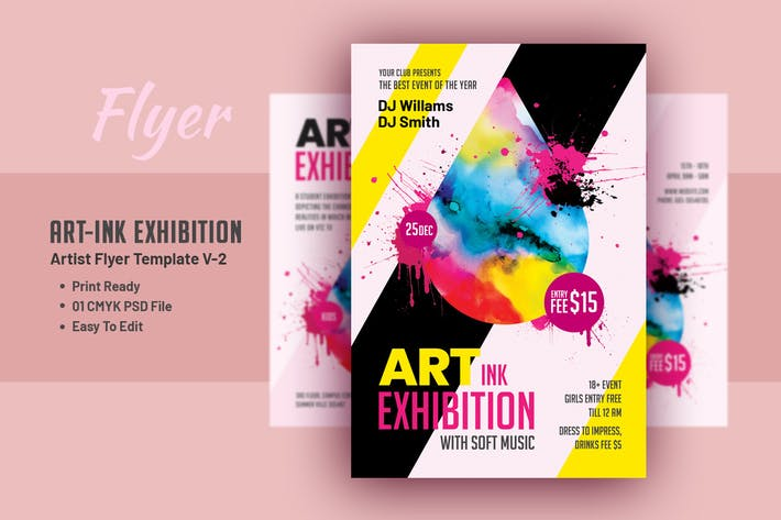 Thumbnail for Art Ink Exhibition - Artist Flyer Template V-2