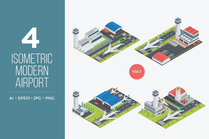 Thumbnail for Isometric Modern Airport Vector Set 1