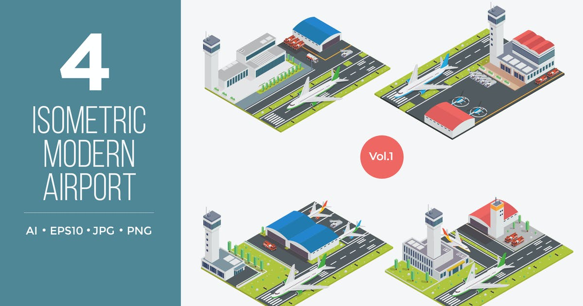 Download Isometric Modern Airport Vector Set 1 by naulicrea