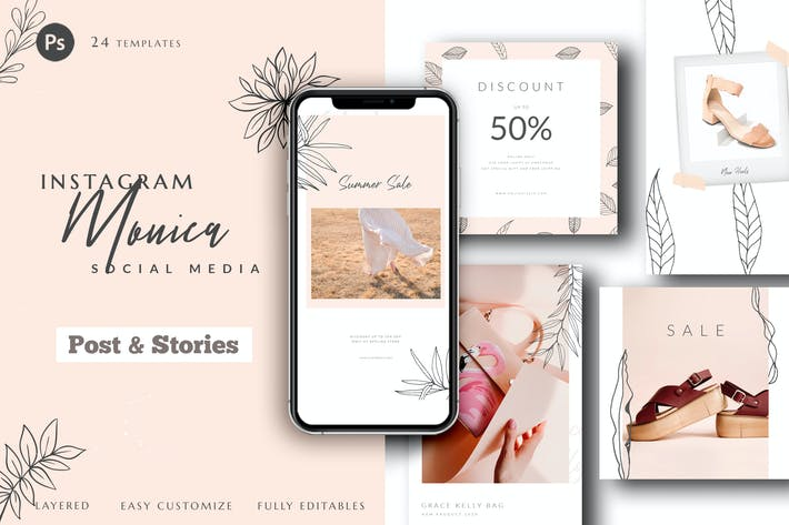 Thumbnail for Instagram Monica Social Media Pack