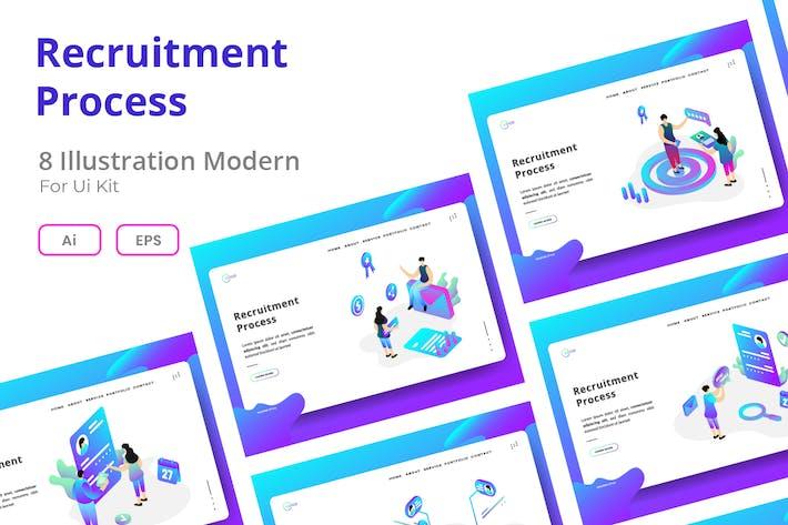 Recruitment Process set Illustration