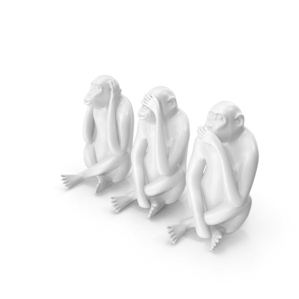 White Monkey Statues Set Sculpture