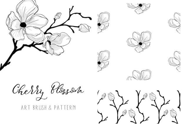 Cherry Blossom 2. Floral Design Element. Vector.