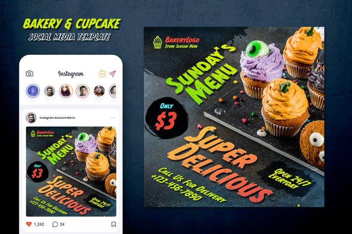 Thumbnail for Bakery & Cupcake Instagram Post Template