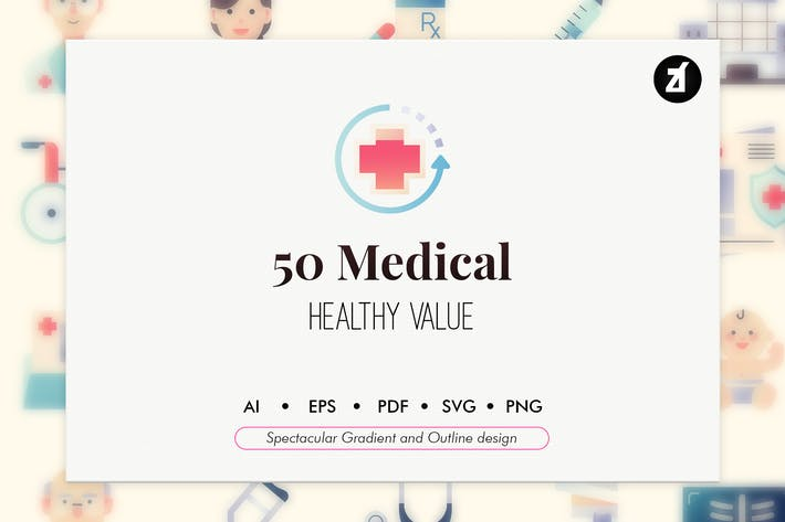 50 Medical elements in flat design