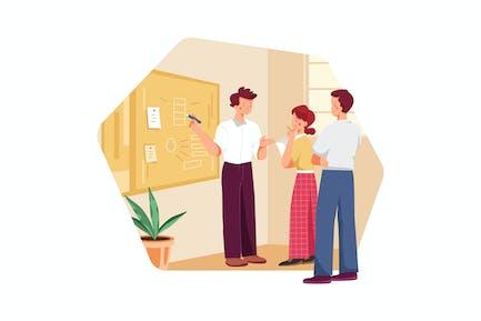 Denken und Brainstorming im Team von Geschäftsleuten