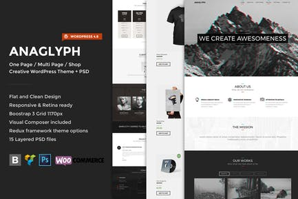 Anaglyph - One page / Multipage WordPress Theme