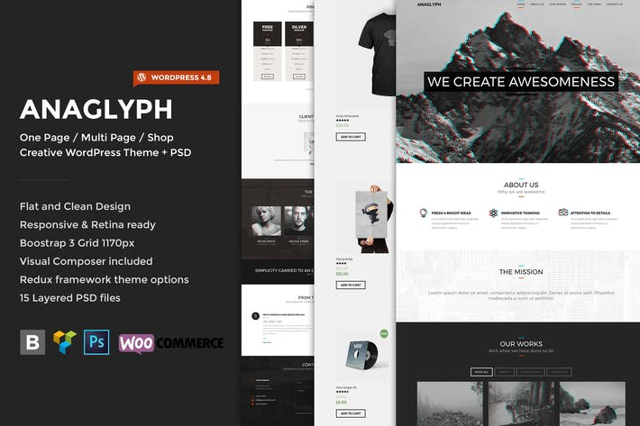 Thumbnail for Anaglyph - One page / Multipage WordPress Theme