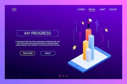Mi progreso - Banner web isométrica moderna