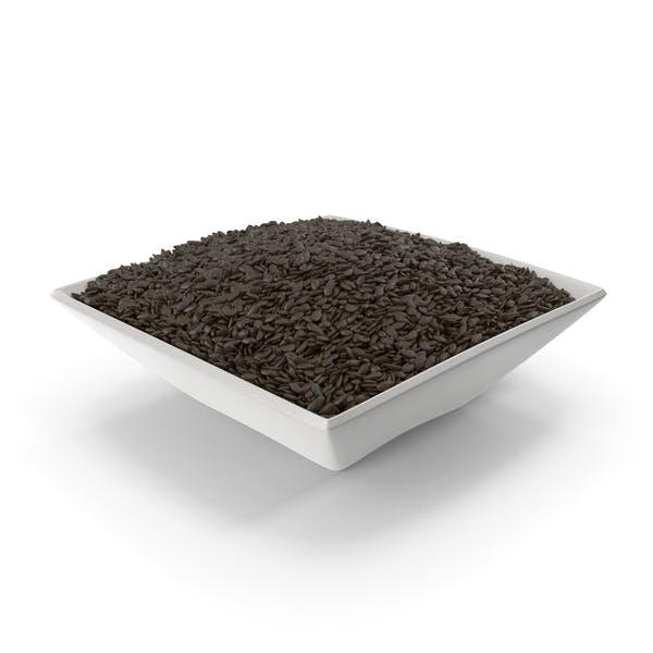 Cuenco cuadrado con semillas de sésamo negro