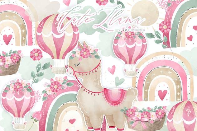 Hot Air Balloon Rainbow Llama Girl design
