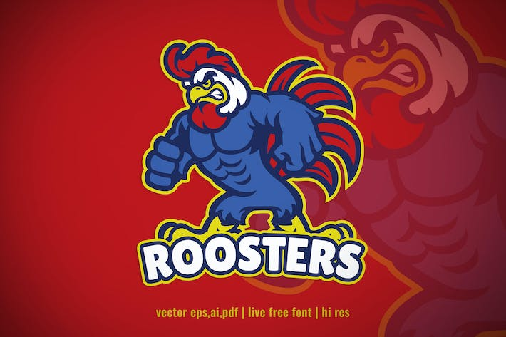 Thumbnail for Angry muscle rooster logo