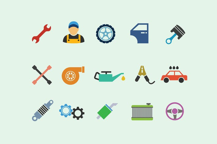 Thumbnail for 15 Car Servicing Icons