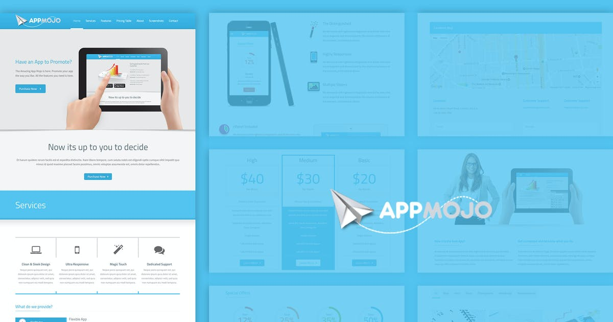 Download App Mojo - Single Page Software Promotion HTML by designthemes