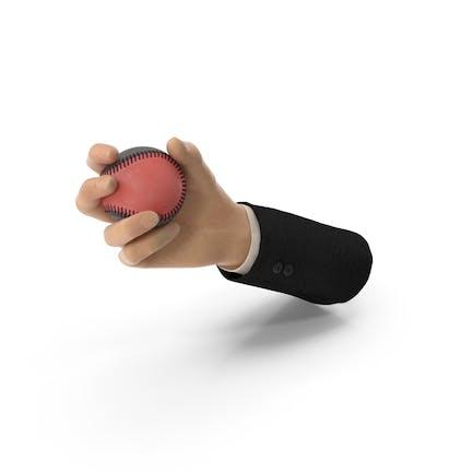 Traje de mano sosteniendo una pelota de béisbol especial