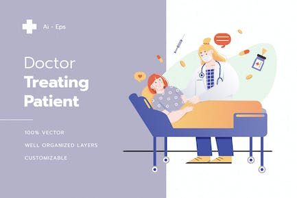 Doctor Treating Patient Illustration