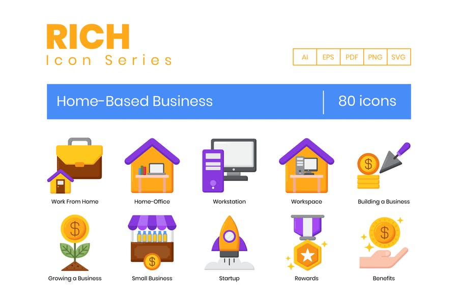 80 Home-Based Business Icons - Rich Series