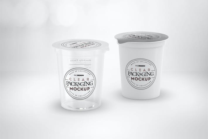Cover Image For Clear Film Sealed Cup Packaging Mockup