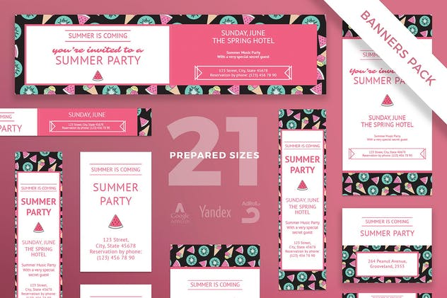Summer Party Banner Pack Template