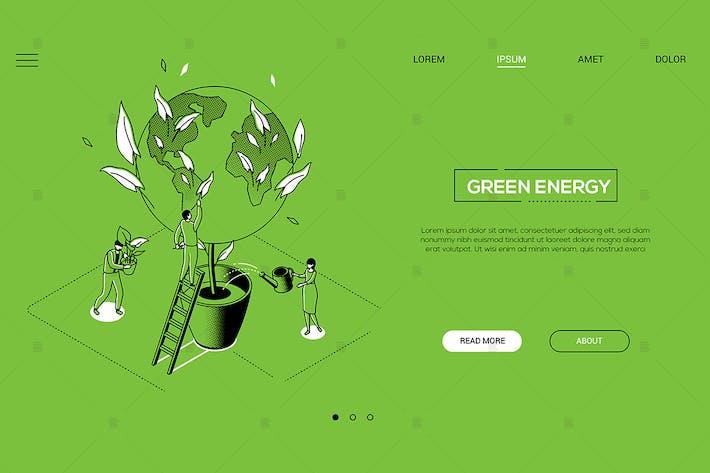Thumbnail for Green energy - line design style isometric banner