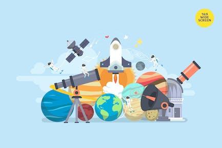Space Science Exploration Vector Concept