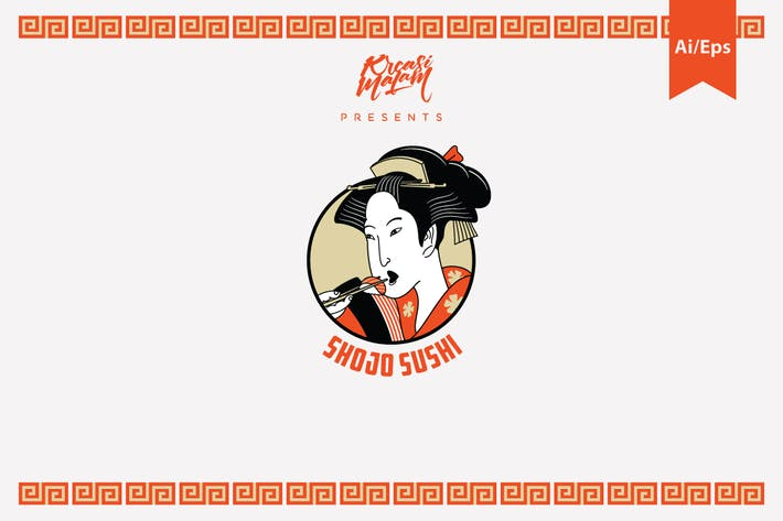 Cover Image For Shojo Sushi Logo Template