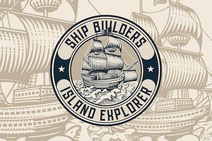 Vintage Ship Badge Logo Template