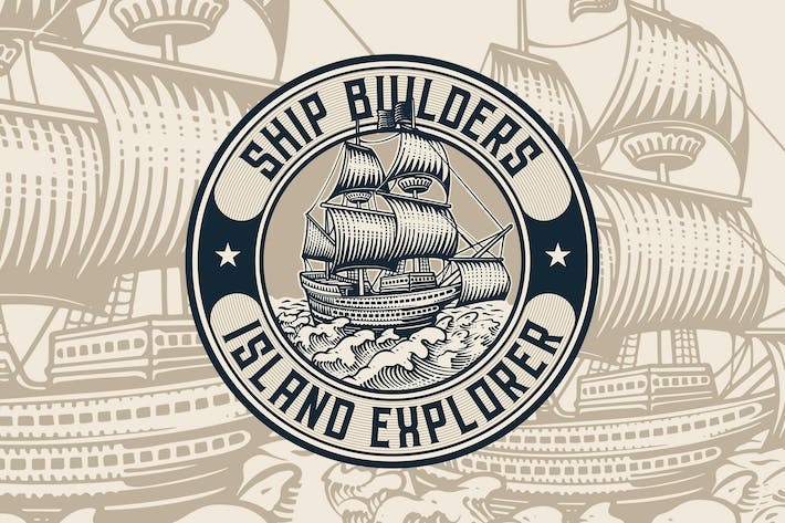 Thumbnail for Vintage Ship Badge Logo Template