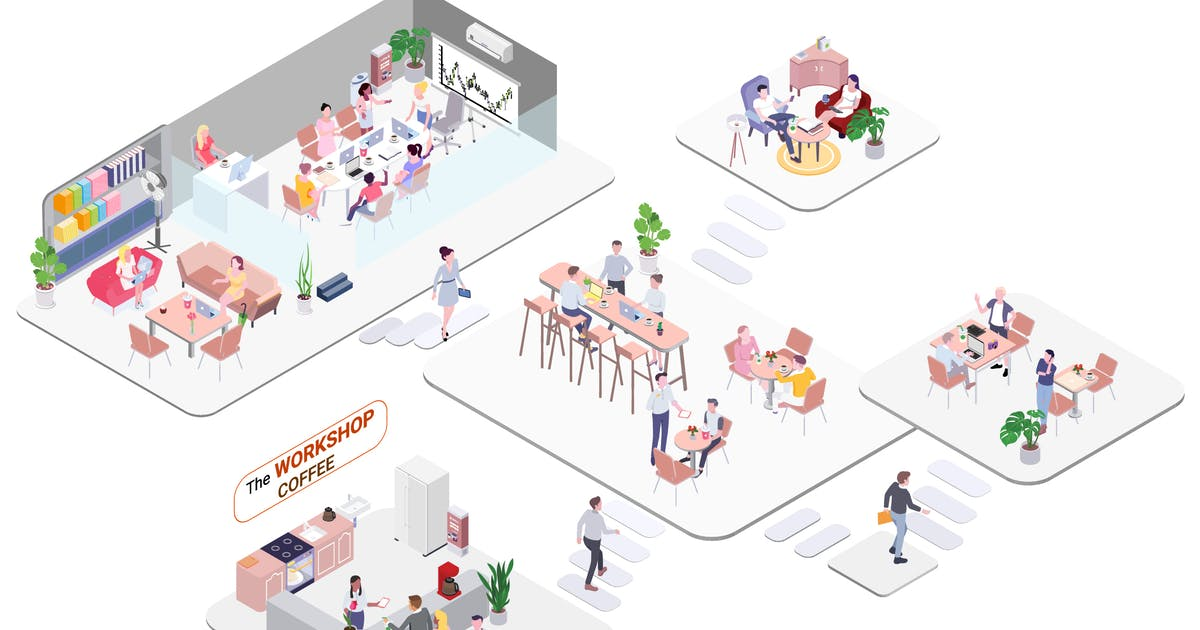 Download Workshop Coffee Isometric Illustration - G1 by angelbi88