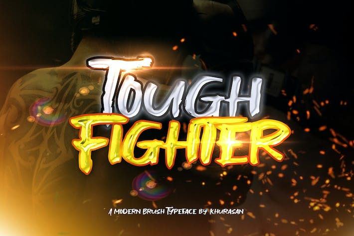 Thumbnail for Tough Fighter Brush Font