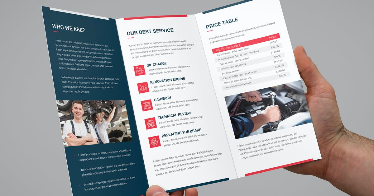 Brochure – Auto Repair Tri-Fold by artbart on Envato Elements