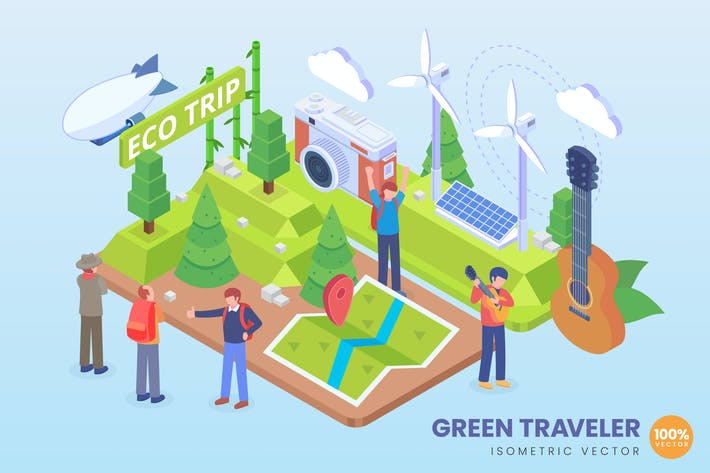 Isometric Green Traveler Vector Concept