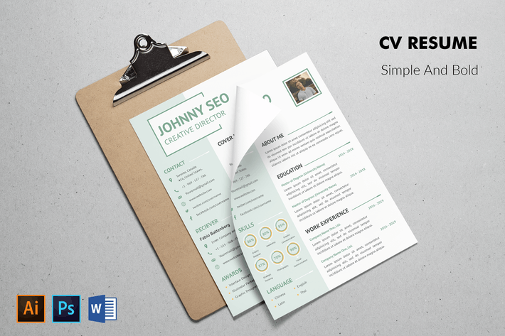 Cover Image For CV Resume Simple And Modern