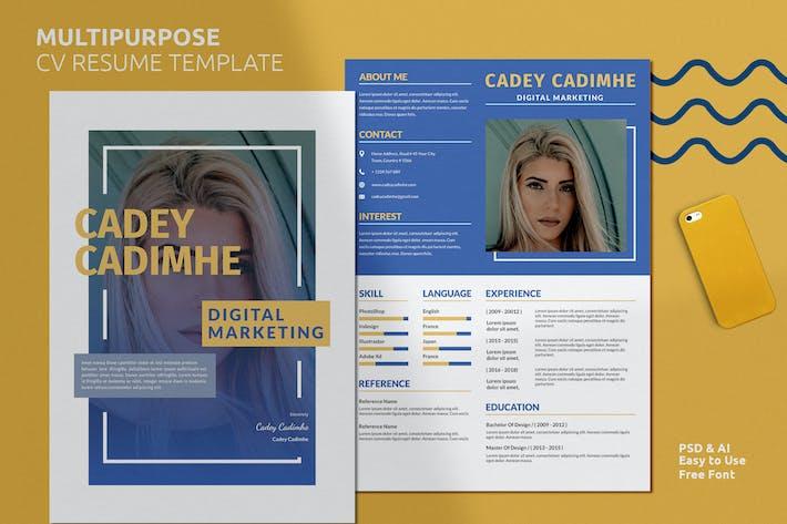 Thumbnail for Multipurpose Resume CV Vol. 19