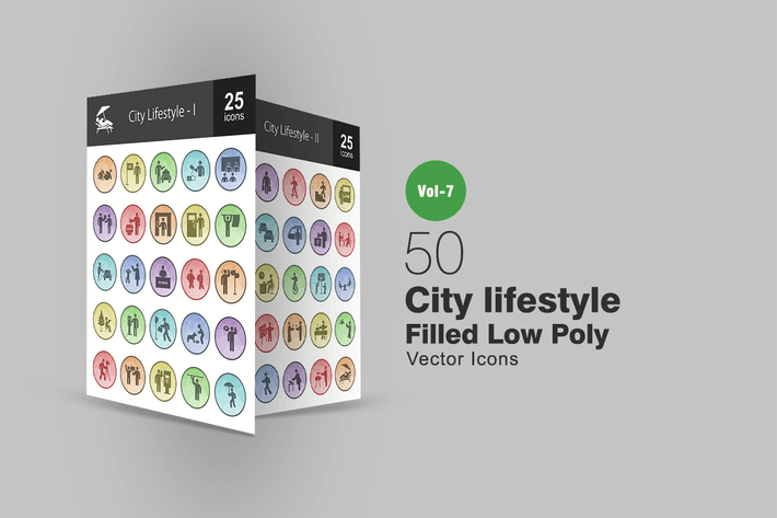 50 City Lifestyle Filled Low Poly Icons