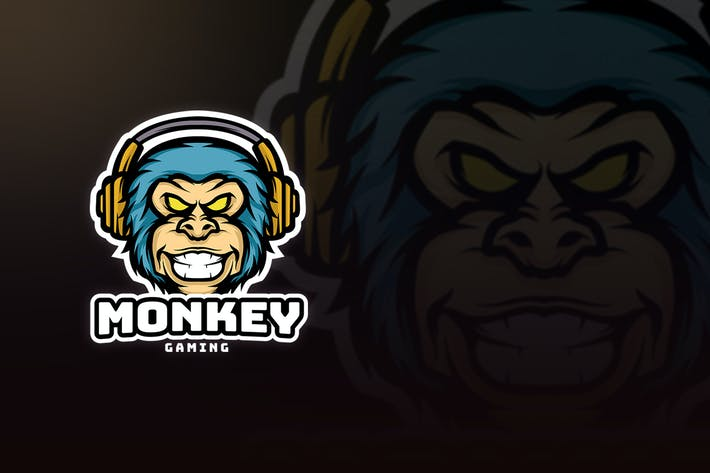 Thumbnail for MONKEY GAMING MASCOT LOGO E-SPORT