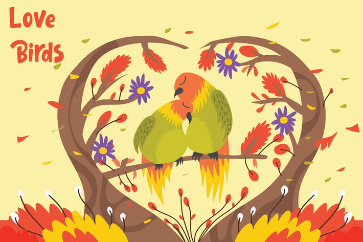Cover Image For Love Birds - Vector Illustration