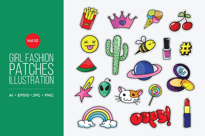 Cover Image For Girl Power Fashion Vector Patches Vol.10
