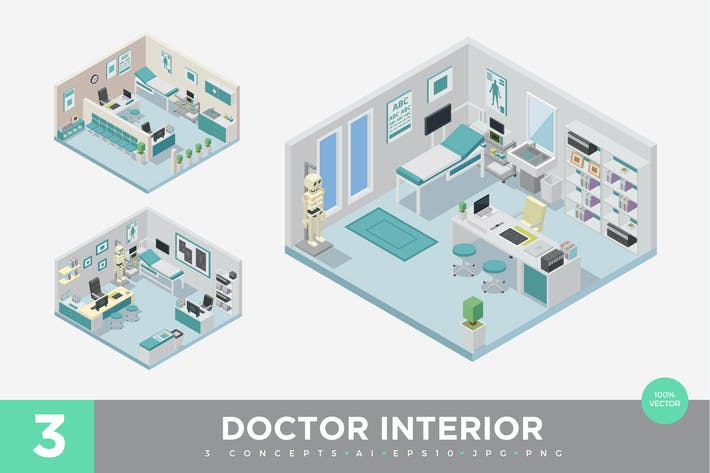 Thumbnail for 3 Isometric Doctor Clinic Interior Vector Set 1