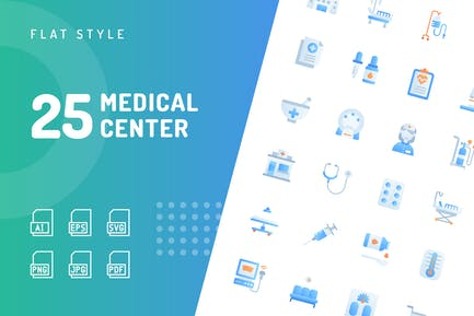Medical Center Flache Icons