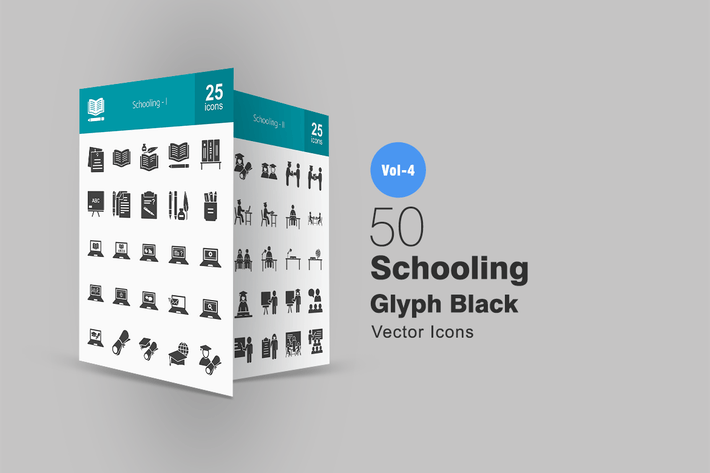 Thumbnail for 50 Schooling Glyph Icons
