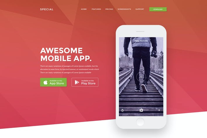 Thumbnail for App Landing Page Psd Template