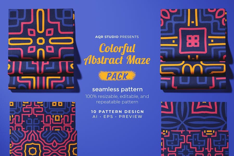 Colorful Abstract Maze - Seamless Pattern