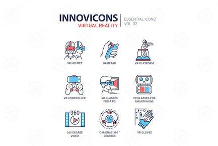 Virtual Reality - modern vector line icons set