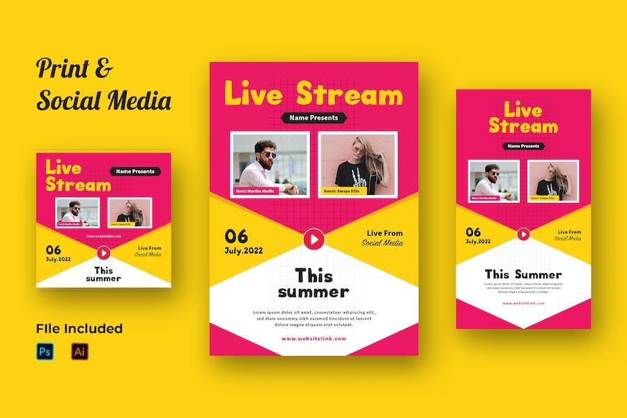 Live Stream Flyer & Social Media Bausatz 02