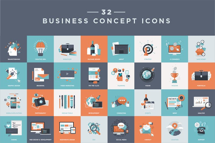 Cover Image For Set of Flat Design Business Icons